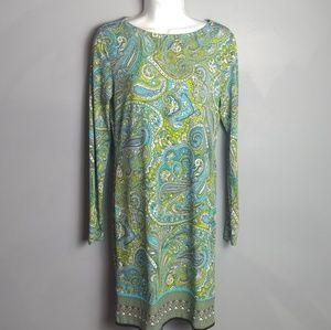 Michael Kors blue Paisley stretchy shift dress Xs